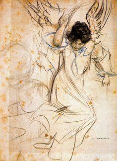 Art @ its best Ramon Casas i Carbó - Angel Ramones, Bd Art, Kunst Online, I Believe In Angels, Angels Among Us, Spanish Artists, Angel Art, Gustav Klimt, Oeuvre D'art
