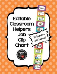 *Now with an editable card to add your own job!** Tired of hearing your students argue about who gets to do what in the classroom? Looking for an organized, cute way to keep up with classroom helper jobs? Look no further! The Classroom Helpers Job Clip Chart will organize this for you!