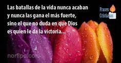 Las batallas de la vida nunca acaban y nunca las gana el más fuerte, sino el que en ningún momento duda de que es Dios quien le da la victoria
