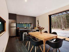 Musk Bunker is a modern prefab cabin designed by Melbourne-based Modscape. The design concept lends itself to the ideal bush hideaway. Prefab Cabins, Prefab Homes, Cabin Design, House Design, Small Modular Homes, Two Bedroom Floor Plan, Kabine, Bedroom Flooring, Affordable Housing