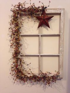 Primative Farm House Decor~Old Window Frame~With Star~Americana Pippin Berries