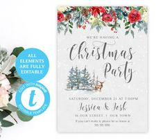 Christmas Party Invitation | EDIT with Templett | Two Designs | Instant Download Template | 5 x 7 | Party Invite | Festive Woodland #template #christmasdiy #christmassigns #christmas #christmasdecor #holidaydecor #christmasposter #printablechristmas #christmasprintables #merrychristmassign #christmasparty #holidayparty #holly #christmaspartysign #christmasposter #printableposter #newyearseve #templett Merry Christmas Sign, Christmas Poster, Christmas Diy, Christmas Decorations, Holiday Decor, Christmas Party Invitations, Photo Booth Props, Party Signs, Christmas Printables