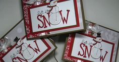 Let it Snow cards for Stamp Club thank yous. The Christmas Cocoa flocked sheets of paper make the most beautiful projects! I saw this card ...