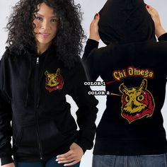 Chi Omega Sorority Bling Mascot Beach Hooded Tee $29.95 #sorority #clothing #greek #apparel