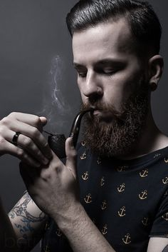 "Geoffrey III - French beard with smoking pipe.  ● French Beard Oil ""Ca va barber !"" (https://www.facebook.com/cavabarber)"
