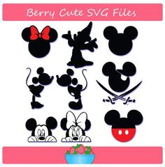 Mickey Mouse and Minnie Mouse Silhouette Set Svg File:
