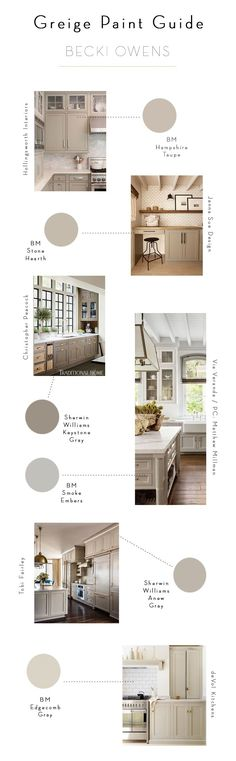 Greige is a beautiful neutral that feels fresh for 2017 paired with cool marble, warm natural woods, and brass accents. Images + Paint Guide.