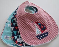 Boy Baby Bibs - Set of 3 - Sailboat  Collection - Appliqued Sailboat