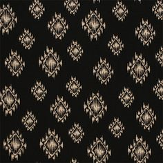 """Beige Ethnic Eye on Black Cotton Jersey Blend Knit Fabric - Lovely ikat diamond ethnic eye in beige on a black background cotton jersey rayon blend knit.  Fabric is mid weight with a nice stretch and soft hand.  Largest eye measures 2"""".  ::  $6.20"""