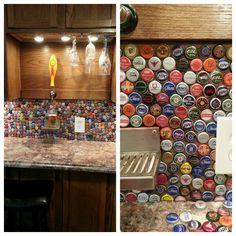 Bottlecap backsplash for bar