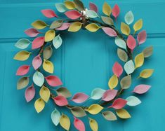 Everyday Wreath for Front Door / Modern Wreath with Felt Leaves / All Season Wreath / Diameter / HGTV Magazine Featured / Made to Order Hgtv Magazine, Felt Flower Bouquet, Felt Flowers, Flower Bouquets, Spring Front Door Wreaths, Modern Wreath, Felt Wreath, Felt Leaves, Rainbow Decorations