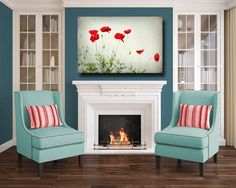 Canvas Gallery Wrap, Poppy Photography, Extra Large Wall Art, Large Red Flowers, Modern Decor, Huge Canvases, Green White Red Art Poppies