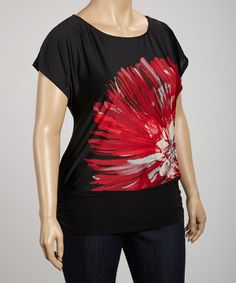 Take a look at this Black & Red Flower Scoop Neck Tunic - Plus by Wrapper on #zulily today!