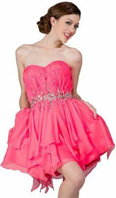 Buy New: $99.00: #Homecoming #Handkerchief #Dress: Zeilei Strapless Short Sweet 16 Homecoming Handkerchief Dress