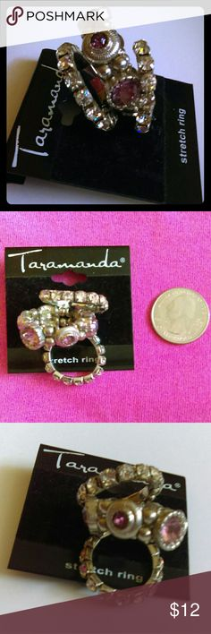 ❤ BNWT Set of 3 Stretch Rhinestone Rings 😍 Wonderful Valentine's Day gift! Brand new with tag set of three crystal and pinkish light purple tourmaline-look rhinestone stretch rings.  Vintage feel, but stretchable to fit most fingers, so you don't even have to know your Valentine's ring size! Or, treat yourself and get what you want this year. 💝💍 Bundle with other items for a private discount Taramanda Jewelry Rings