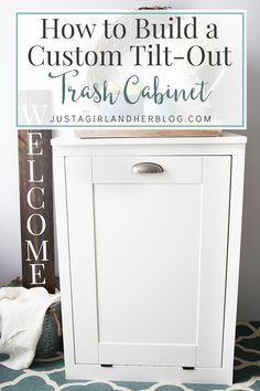 Kitchen Cabinet How to Build a Custom Tilt-out Trash Cabinet. Keep your kitchen elegant and organized with this helpful DIY project! - This custom tilt-out trash cabinet is awesome for hiding ugly trash cans and can be customized to match your kitchen! Diy Wood Projects, Furniture Projects, Home Projects, Diy Furniture, Primitive Furniture, Furniture Plans, Kitchen Furniture, Luxury Furniture, Diy Interior