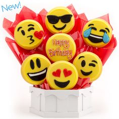 Say Happy Birthday with our new Emoji cookie bouquet
