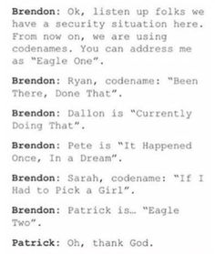 A P!ATD and Parks and Rec reference. Sorry if I am spamming you by the way