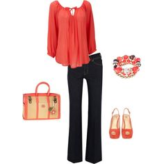 A fashion look from March 2012 featuring 3/4 length sleeve shirts, mid rise bootcut jeans and red platform pumps. Browse and shop related looks.