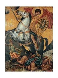 George and the Dragon by Mercorio, : Saint George And The Dragon, Orthodox Icons, Dragon Art, Green Man, Renaissance Art, Figurative Art, Icon Design, Find Art, Framed Artwork