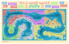 "Vintage route map for the ""It's A Small World"" attraction at Disneyland. Disney Parks, Disney Map, Retro Disney, Disney Theme, Disney Love, Walt Disney, Disney Stuff, Disney Posters, Disney Bound"