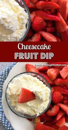 This cheesecake fruit dip is the perfect dessert for any occasion! Donut Recipes, Best Dessert Recipes, Sweets Recipes, Snack Recipes, Dessert Dips, Easy Desserts, Delicious Desserts, Yummy Food, Health Desserts