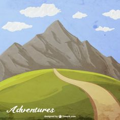 Hand painted mountain adventure Free Vector