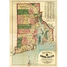 Rhode Island (Blue) - (1880) - Panoramic Map (Acrylic Serving Tray)