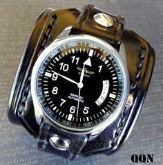100% DONATION Black Leather Cuff Watch by CuckooNestArtStudio