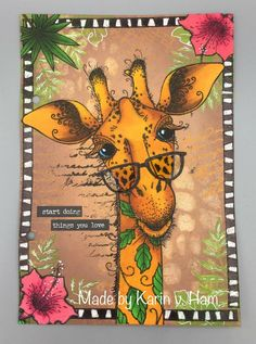 Cling Rubber Stamp F7923 Giraffe Love Mom and Baby Impression Obsession IO