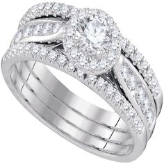 White Gold Halo Shape Style With Center Round Diamond 0.33 And Round Diamonds Bridal Ring Set (1.00ct.tw) - 40499762