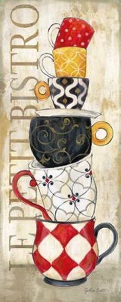 We specialize in publishing open-edition decorative art prints for the home furnishings and gift markets. We're a wholesale business with distribution of our art to numerous retail store chains, catalog/mail order companies, and independent shops. I Love Coffee, Coffee Art, Coffee Cups, Cup Art, Pintura Country, Decoupage Paper, Kitchen Art, Painting Inspiration, Art Decor