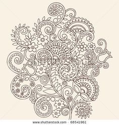 stock vector : Hand-Drawn Henna Mehndi Paisley Doodle Flowers and Vines Vector Illustration Design Element