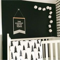 the boo and the boy: black and white kids' rooms Black White Nursery, White Kids Room, Baby Room Decor, Nursery Room, Nursery Decor, Bedroom, Kids Decor, Home Decor, Nursery Inspiration