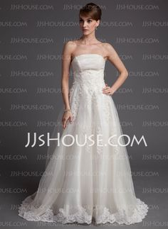A-Line/Princess Strapless Chapel Train Satin Tulle Wedding Dresses With Lace (002016172) http://jjshouse.com/A-line-Princess-Strapless-Chapel-Train-Satin-Tulle-Wedding-Dresses-With-Lace-002016172-g16172