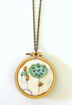Mini Embroidery Hoop Pendant  Flowers  Hand Embroidered by bleuroo