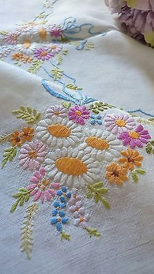 VINTAGE HAND EMBROIDERED  IRISH LINEN TABLECLOTH ~ FLORAL POSIES