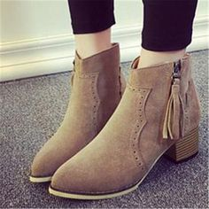 US $16.99 Kwan Women's Shoes Fringe Zipper Suede Block Heels Ankle Boots Booties Winter Khaki