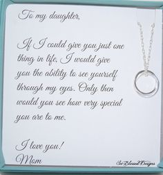 DAUGHTER necklace, To Daughter from Mom, Double circles necklace, Daughters POEM, Birthday gift for daughter, wedding gift for daughter This