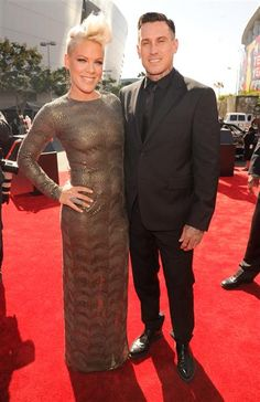 Pink and Carey Hart arrive at the MTV Video Music Awards at Staples Center in Los Angeles on Sept. 6, 2012