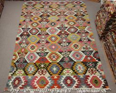 Turkish Vintage Kilim rug 123x64 feet Area rug Room by Damgadecor