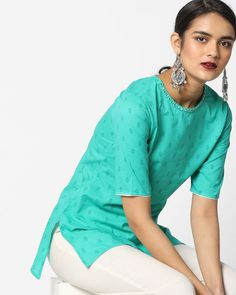 7cfbb9d0e98 Buy AJIO Women Green Printed Tunic with Mirror Embellishments | AJIO Style  And Grace, Green