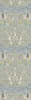 {Trustworth} Are there Fairies at the bottom of your garden? There certainly could be with this wallpaper design from 1896. Voysey's signature stylized doves are in graceful flight through a forest of softly shaded trees under-planted with mushrooms and hyacinth. Pale tones of green, blue ochre, teal and lavender ideally suit this pattern to any room where elegance and repose are desired.