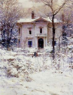 """Victorian Winter (1987) by Richard Alan Schmid (b. October 5, 1934; Chicago, Illinois) Oil on canvas, 18"""" × 24"""", signed lower right """"Schmid"""" http://www.invaluable.com/auction-lot/richard-schmid-american-chicago,-b.-1934-victo-160-c-z4pijlw3lv Large image: https://s-media-cache-ak0.pinimg.com/736x/a1/32/40/a1324004b064ddad1614fbab50fc9b2e.jpg https://en.wikipedia.org/wiki/Richard_Schmid"""