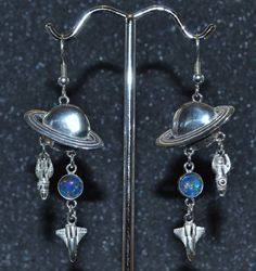 Sterling Planet, Rocket and Shuttle Earrings with Opal Triplet