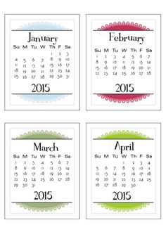3x4 Project Life 2015 calendar (Sunday to Saturday or Monday to Sunday - you choose!)