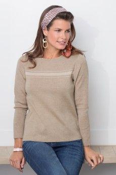 Le pull mérinos coudières lurex tricoté en france. Maille fantaisie. Collection Femme Automne-Hiver 2014.