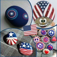 of July * Patriotic Painted Rock creation ideas - Fun for the family - Red * White * Blue - Flags - Stars - Peace sign - Lady Bugs Pebble Painting, Dot Painting, Painting For Kids, Pebble Art, Stone Painting, Rock Painting Patterns, Rock Painting Ideas Easy, Rock Painting Designs, Patriotic Crafts