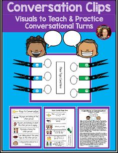This product is perfect for your students who need to work on holding a conversation and taking conversational turns.  The activity begins with a social story called I Can Have a Conversation that you can read with your students to explain what a conversation is, how to hold a successful conversation, and how to use this activity to help them practice.