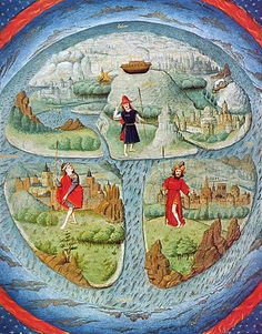 MAPPA MUNDI  15th century adaptation of a T and O map. This kind of medieval mappa mundi illustrates only the reachable side of a round Earth, since it was thought that no one could cross a torrid clime near the equator to the other half of the globe.